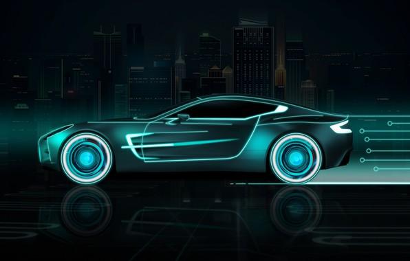 Picture Auto, The city, Neon, Machine, Background, Neon, Side view, Futuresynth, Outrun, Futuristic Car