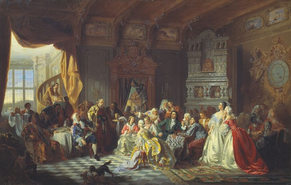 Picture feast, dogs, STANISLAV KHLEBOVSKOE, The Assembly under Peter the great