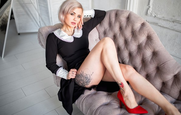 Picture girl, pose, dress, tattoo, blonde, legs, Lyudmila, Alexey Yuriev
