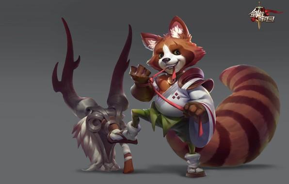 Picture the game, fantasy, art, hero, Panda, monk, red Panda, slingshot, Yellow River