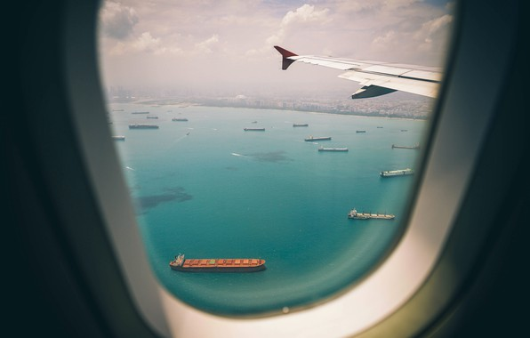 Picture Sea, The city, The plane, View, Flight, Court, The window, Singapore, The ship, Singapore, RAID, ...