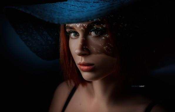 Picture eyes, look, hair, Girl, hat, red, shoulders, Alexander Drobkov-Light, Elvira Pozdnysheva
