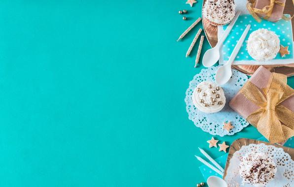 Picture background, gift, blue, dessert, decor, cupcakes, Birthday, Birthday