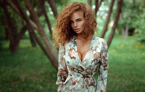 Picture greens, grass, look, trees, nature, Park, background, model, portrait, makeup, figure, dress, hairstyle, brown hair, ...