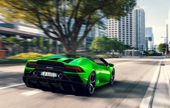 Picture machine, trees, street, speed, Lamborghini, lights, optics, sports car, Spyder, Evo, Huracan