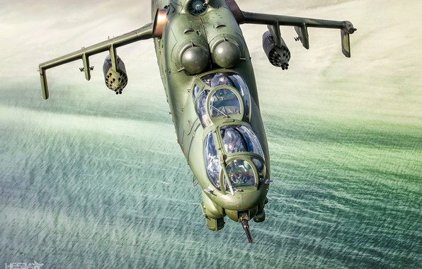 Picture Sea, Mi-24, Pilot, Attack helicopter, Cockpit, Polish air force, HESJA Air-Art Photography