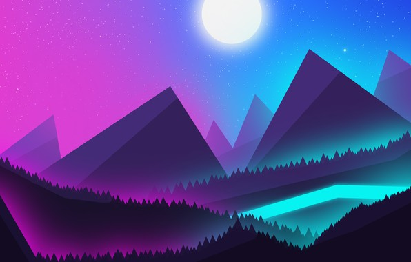Picture Mountains, neon, Landscape, mountains, the night sky, view, beautiful landscape, Neon moon, moonlight, night mountains, …
