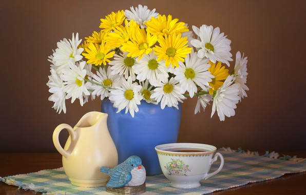 Picture flowers, style, background, tea, chamomile, bouquet, mug, Cup, vase, pitcher, bird, still life, napkin
