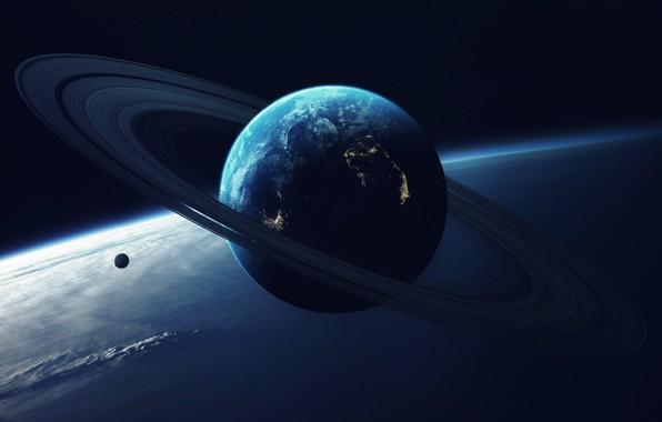 Picture Planet, Space, Light, Ring, Art, Art, Satellite, Vadim Sadovski, by Vadim Sadovski, Close orbit, Giant …