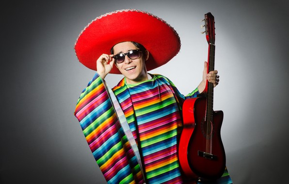 Picture pose, background, guitar, hat, glasses, outfit, male, guy, Mexican, sambrero