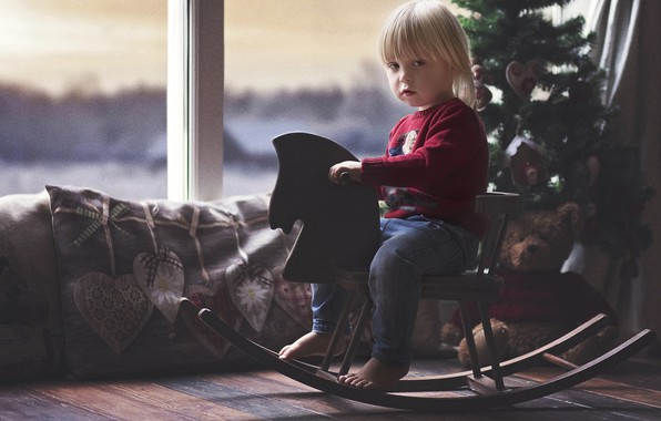 Picture room, holiday, toys, new year, pillow, baby, window, bear, tree, child, rocking, horse, rojdestvo, indre …