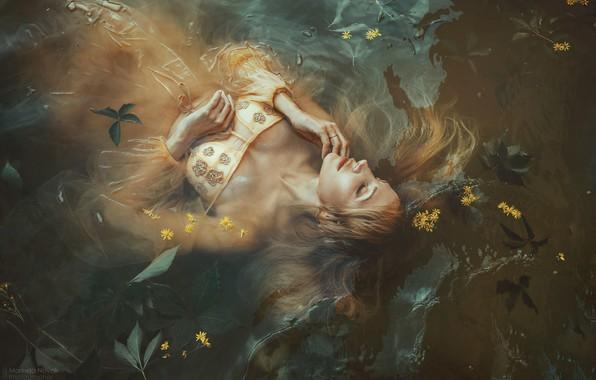 Picture leaves, water, girl, flowers, pose, the situation, dress, closed eyes, Marketa Novak, Olga Lounova