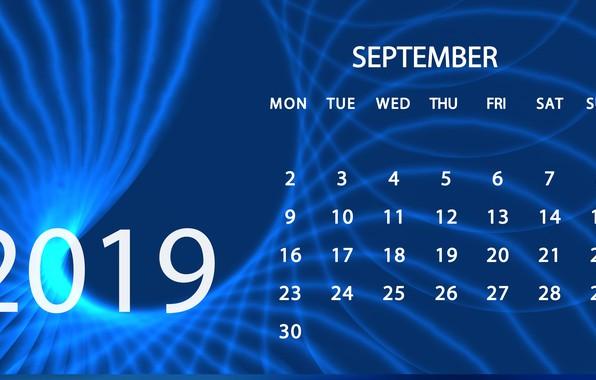 Picture calendar, September, 2019