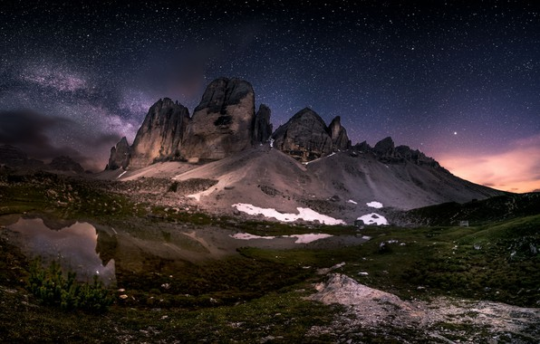Picture snow, landscape, mountains, night, nature, lake, stars, Italy, The Dolomites