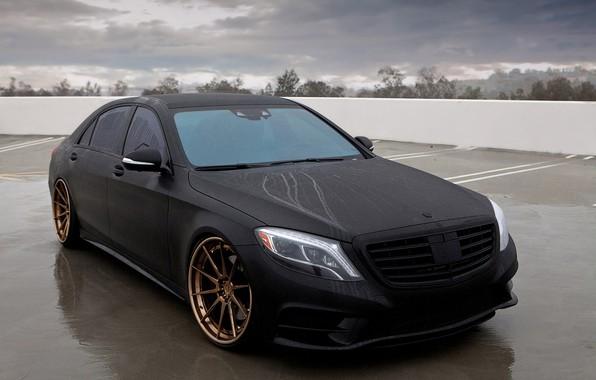 Picture Mercedes-Benz, Black, Matte, S550, Matte Black Mercedes-Benz S550