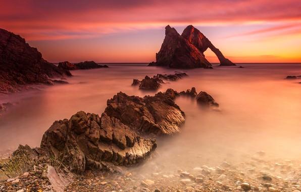 Picture Sunset, Water, Sea, Shore, Stones, The crimson, Dal