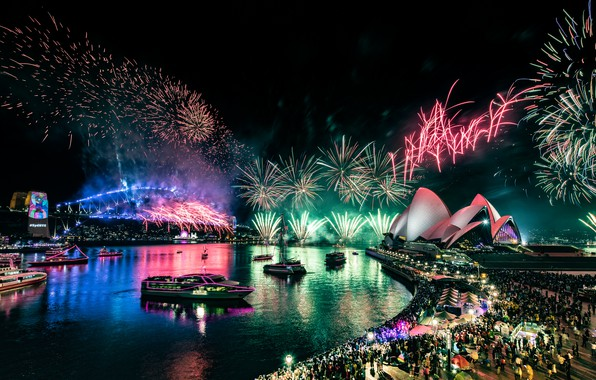 Picture reflection, night, bridge, the city, lights, green, people, holiday, the crowd, salute, Australia, port, show, …