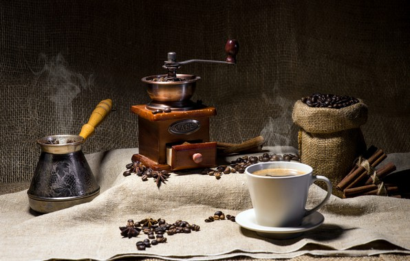 Picture coffee, burlap, coffee beans, coffee grinder