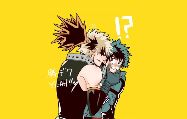 Photo wallpaper guys, heroes, yellow background, Boku no Hero Academy, My hero Academy, Midori Isuku, Bakusou Katsuki, ...