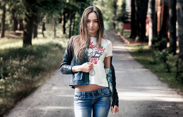 Picture girl, long hair, trees, brown hair, photo, photographer, blue eyes, park, model, bokeh, lips, jeans, …