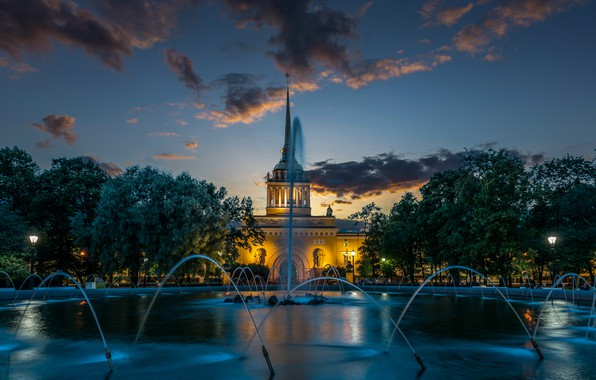 Picture trees, the building, Saint Petersburg, fountain, Russia, Alexander garden, The Admiralty