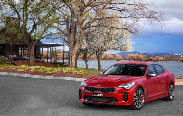 Picture auto, red, spring, KIA, Stinger