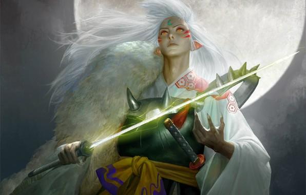 Picture night, lights, katana, armor, the demon, the full moon, art, looking up, Inuyasha, Inuyasha, Sesshomaru, …