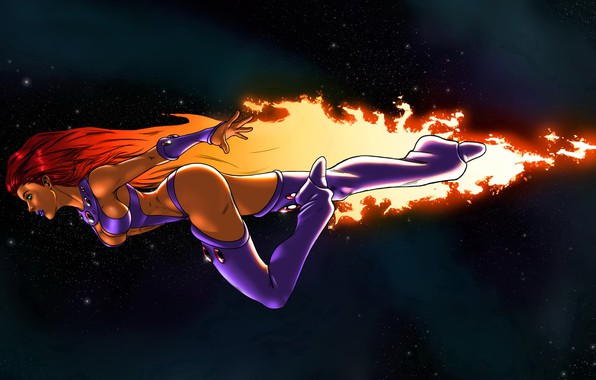 Picture girl, space, flight, art, cosmos, fly, DC Comics, Starfire, Corey Anders