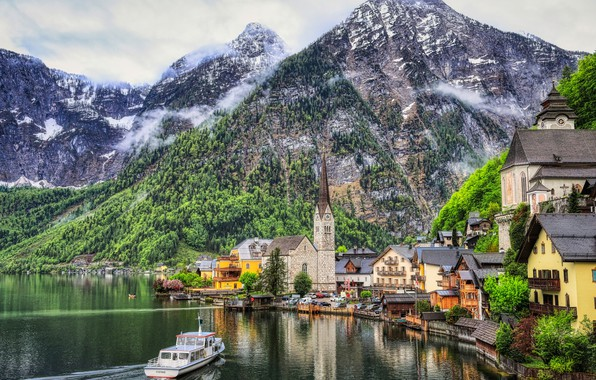 Picture mountains, lake, building, home, Austria, Alps, Church, town, boat, ship, Austria, Hallstatt, Alps, Lake Hallstatt, …