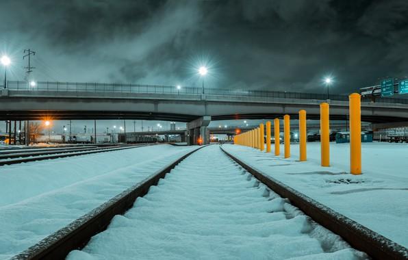Picture city, lights, USA, bridge, night, winter, clouds, snow, railway, rails, Utah, tracks, train tracks, 4k …
