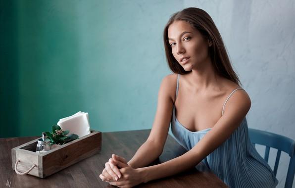 Picture girl, box, long hair, dress, brown hair, photo, photographer, blue eyes, model, chair, lips, face, …