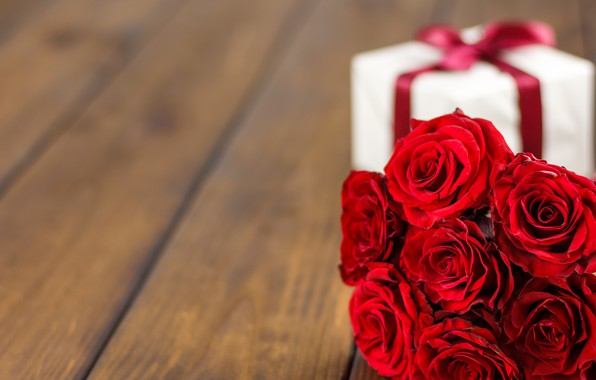 Picture flowers, gift, roses, bouquet, red, red, love, flowers, romantic, valentine's day, roses, gift box