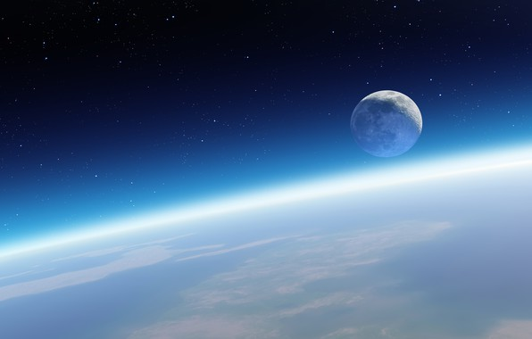 Picture space, the moon, planet, satellite, stars, horizon, Earth, orbit