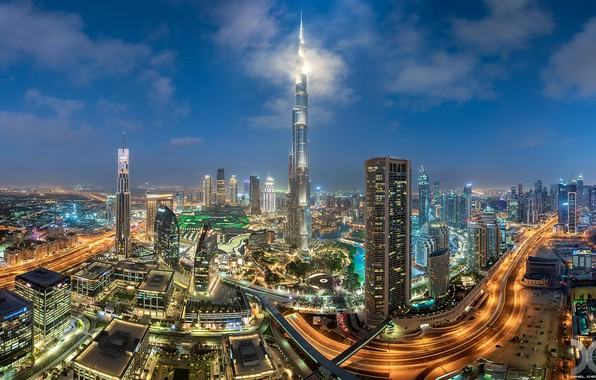 Picture building, road, home, panorama, Dubai, night city, Dubai, skyscrapers, UAE, Burj Khalifa, Burj Khalifa, UAE