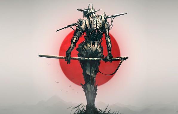 Picture Japan, sword, fantasy, robot, weapon, katana, birds, sun, digital art, artwork, Samurai, warrior, fantasy art, …