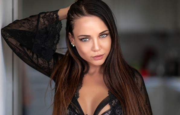 Picture look, pose, model, portrait, makeup, brunette, hairstyle, beauty, in black, bokeh, Angelina Petrova, Angelina Petrova, ...