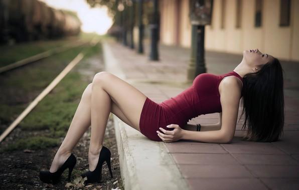 Picture girl, pose, rails, dress, brunette, shoes, EDDIE MILLION, EDGAR MERT