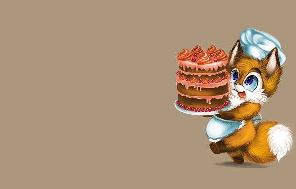 Picture mood, holiday, gift, minimalism, art, Fox, Fox, cap, cake, children's, pastry chef, kodomo no hi, …