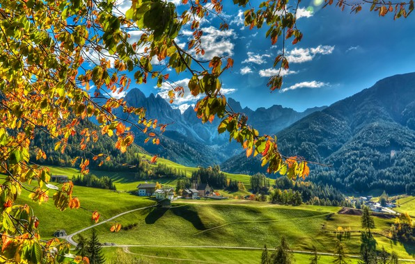 Picture autumn, mountains, branches, valley, village, Italy, Italy, The Dolomites, South Tyrol, South Tyrol, Dolomites, Funes, …