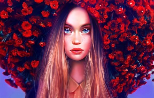 Picture Girl, Beautiful, Art, Flowers, Eyes, Face, Lips, Maka Zedelashvili
