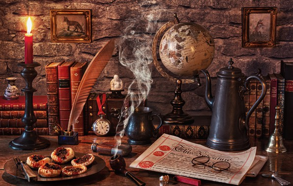 Picture style, pen, watch, books, candle, glasses, newspaper, pictures, still life, globe, candle holder, ink, coffee …