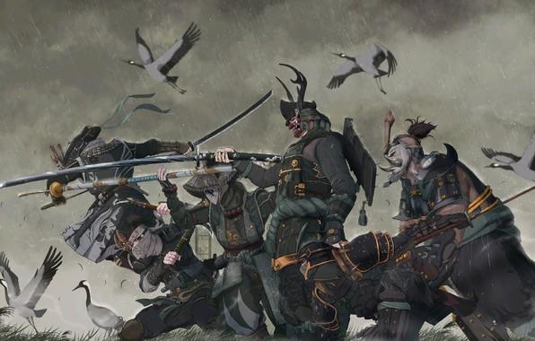 Picture fantasy, rain, armor, katana, birds, weapons, digital art, artwork, mask, warriors, Samurai, swords, fantasy art, …