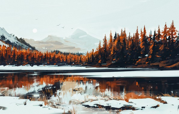 Picture Nature, Winter, Figure, Lake, Snow, Forest, Serenity, Aenami, by Aenami, Alena Aenam The, by Alena …