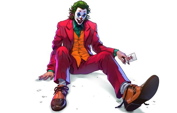 Picture look, pose, art, Joker, white background, Joker