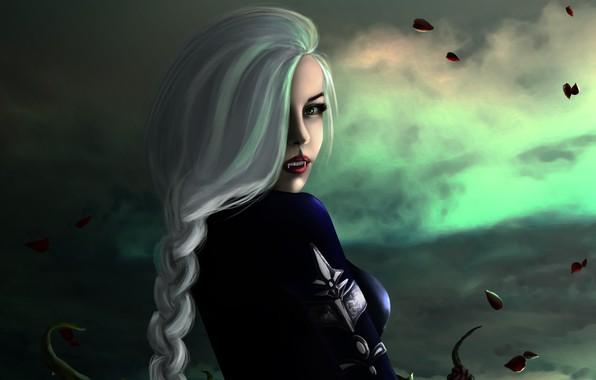 Picture look, girl, fantasy, art, blonde, fangs, vampire