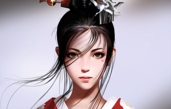 Picture girl, fantasy, brown eyes, brunette, artist, asian, digital art, artwork, fantasy art, kimono, illustration, simple …