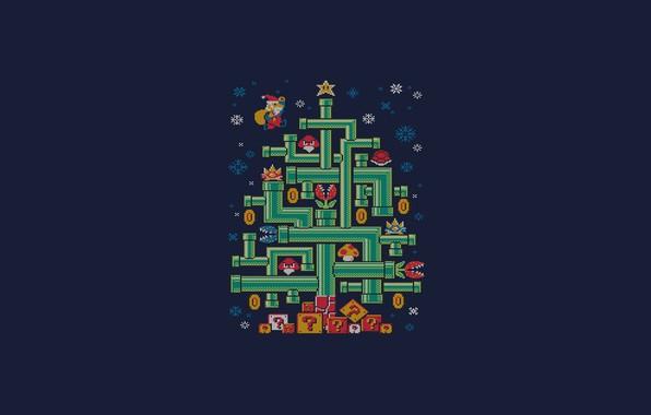 Photo wallpaper Minimalism, Mario, New year, Tree, Art, Tree, Tree, New Year, Super Mario, Pipe, Djkopet, By ...