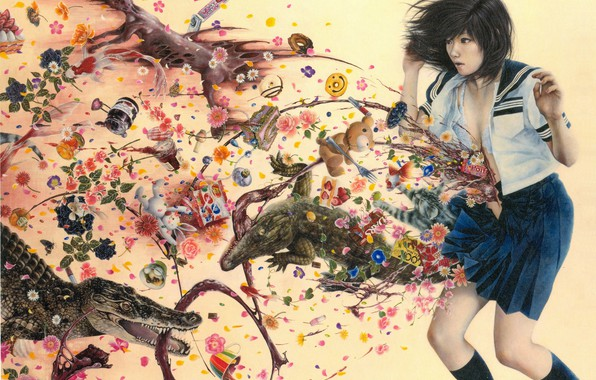 Picture garbage, blood, crocodile, horror, pain, schoolgirl, madness, inside, wounds, vomit, nightmare, by Ai Shinohara