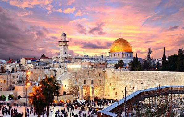 Picture the sky, clouds, trees, sunset, lights, people, home, the evening, Palace, Jerusalem, Israel, Jerusalem