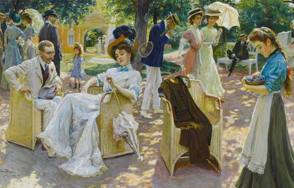 Picture gouache, German painter, German painter, The middle of summer, Oscar Bluhm, Midsummer day, Oscar Bloom